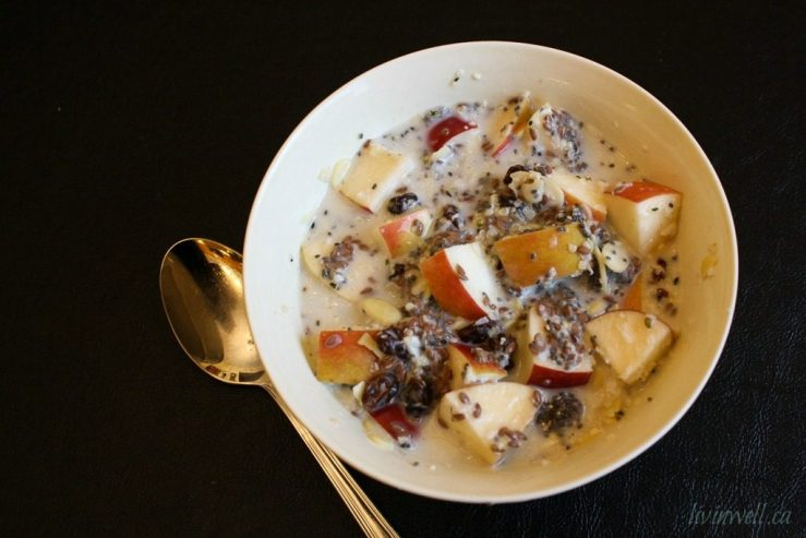 An overhead shot of a bowl of warm apple n'oatmeal showing off the chunks of apples, combined with seed, raisins, hemp hearts and almond milk