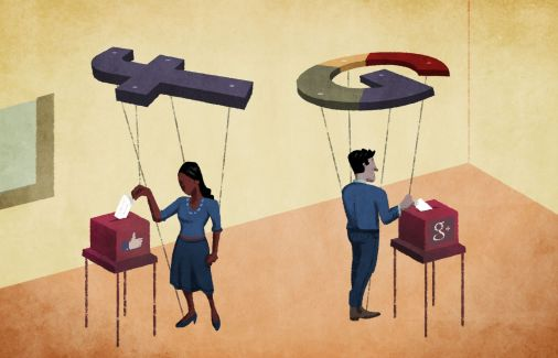 Illustration for New Internationalist about internet influence on voting