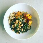 Freekeh Bowl with Grilled Sweet Potatoes, White Beans, and Kale