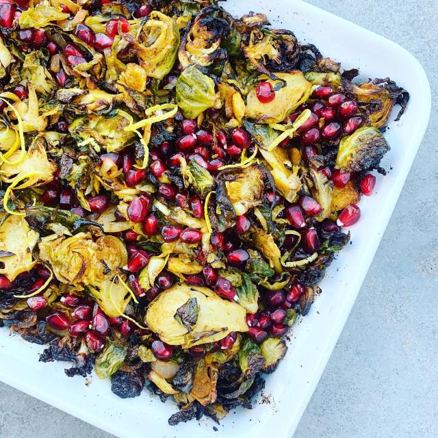 Spiced Brussels Sprouts with Pomegranate