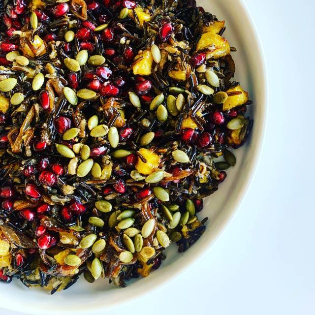 Wild Rice with Acorn Squash, Caramelized Onions, Pomegranate and Maple Vinaigrette