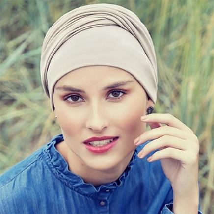 Zoya turban featherbeige