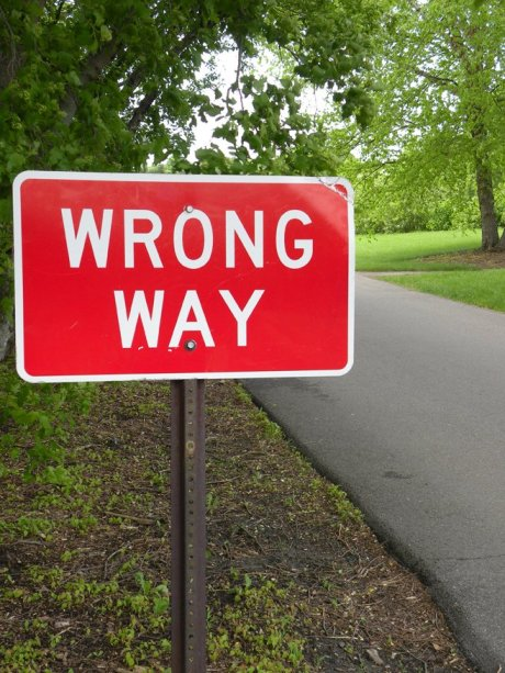 street sign - wrong way