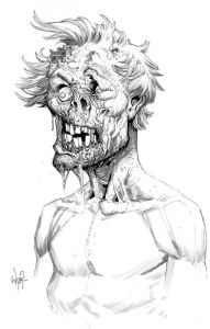 Esquisse d'une tête de zombie