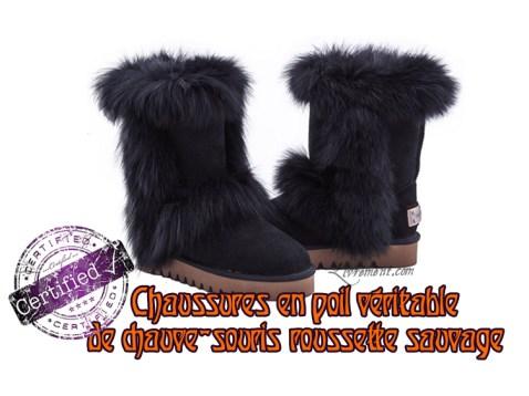 chaussures en poil veritable de chauve souris roussette sauvage