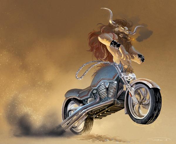 """Illustration de l'illustratrice Thorn pour la thématique """"biker"""" du Character Design Challenge 2018"""