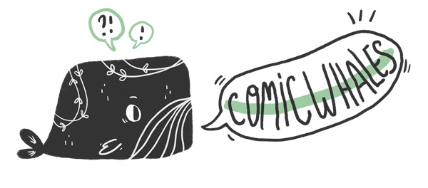 Comic Whales, logo en forme de baleine pour le club de lecture dédié au format BD