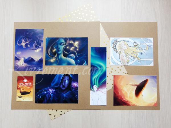 Marque-page et cartes postales de Tiphs artiste