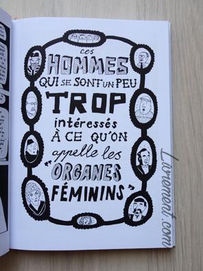 Livre I'm every woman de Liv Strömquist : page des hommes qui se sont un peu trop intéressés à ce qu'on appelle les organes féminins