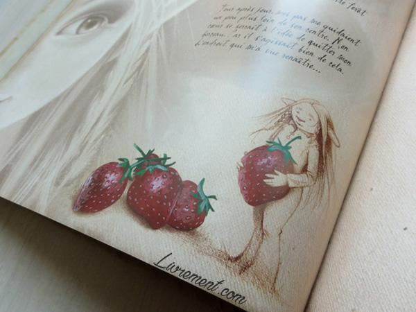 Petite elfe aux fraises du livre illustré La petite faiseuse de Sandrine Gestin