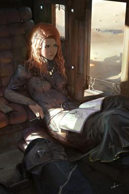 """Illustration du personnage Shallan en voyage, roman """"Le livre des radieux"""" de Brandon Sanderson"""
