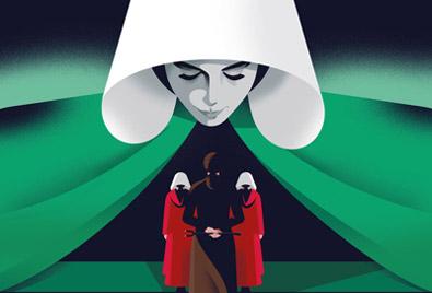 Fan art du roman Les testaments de Margaret Atwood : ici les trois narratrices
