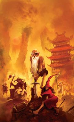 """Illustration de Marc Simonetti représentant Cohen, Rincevent et DeuxFleurs, personnages du roman """"Les tribulations d'un mage en Aurient"""" écrit par Terry Pratchett"""