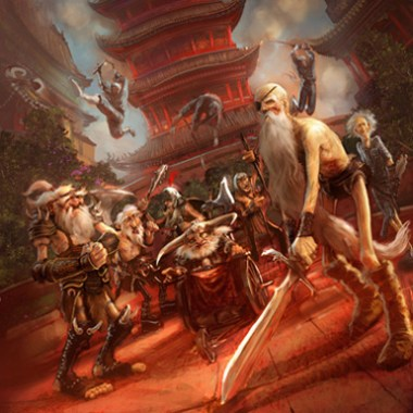 """Illustration de Marc Simonetti représentant la Horde d'Argent du roman """"Les tribulations d'un mage en Aurient"""" écrit par Terry Pratchett"""