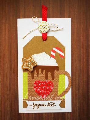 Carte scrap : tasse de chocolat chaud