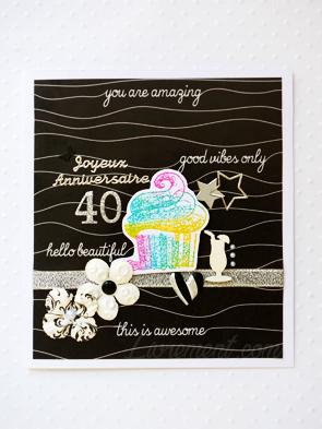 Carte scrapée cupcake pour des 40 ans