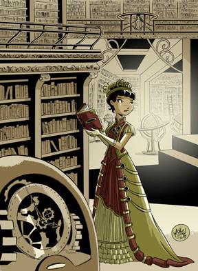 Dessin d'une bibliothécaire steampunk