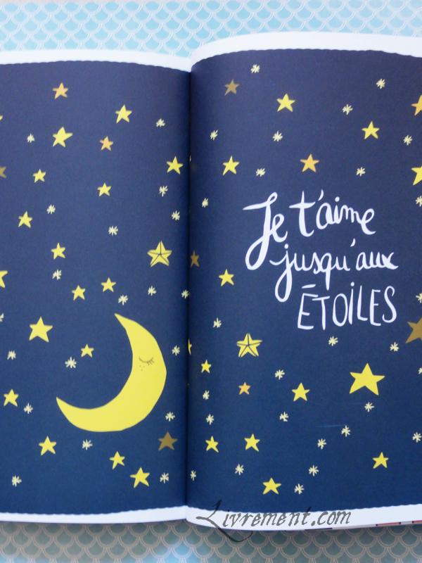Illustration double page Je t'aime jusqu'aux étoiles de Tout plaquer et aller prendre un bain par Mathou
