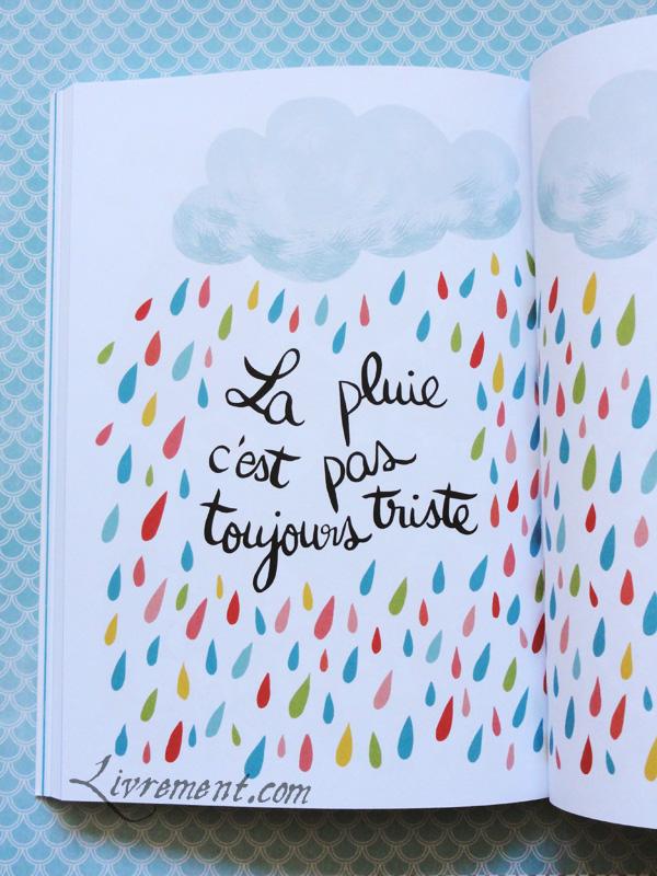 Illustration double page La pluie c'est pas toujours triste de Tout plaquer et aller prendre un bain par Mathou