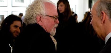 Fellow gallery owner David Fahey, having a chat with Taschen. This very day his long-time client Phil Stern had passed away.