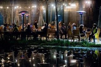 The Norton Simon patio one evening during a show on the artist Duchamp.