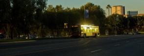 An early morning Metro bus in LA.