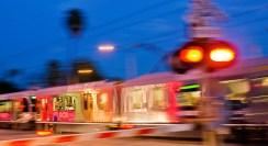 A Gold Line train travels through South Pasadena.