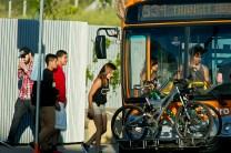 Passengers boarding a Metro bus in Santa Monica.