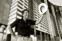 Stephen Wynn, impresario of Las Vegas, photographed for Forbes Magazine during the construction of The Mirage Hotel.