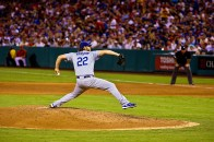 The Dodgers' Clayton Kershaw, about to deliver another pitch that is - most likely - not hittable.