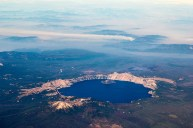 Many great sites out the left side on the LA/Seattle run. This is Oregon's Crater Lake.