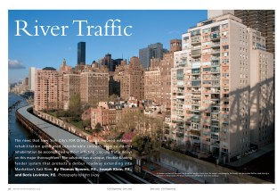 The opening spread for the CE story on AECOM's East River project, protecting a highway upgrade.