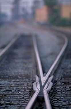 A detail of a track in San Bernardino, California.