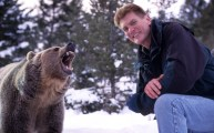 Boyd with a young grizzly-in-training, somewhere in Wyoming.