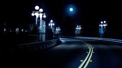 A blue moon rising over Pasadena's Suicide Bridge.