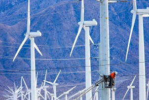 A maintenance worker on a Palm Springs, California wind farm.