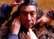 Prepping an American Indian actor for a scene in a very cold Utah - Geographic's Lewis & Clark IMAX film.