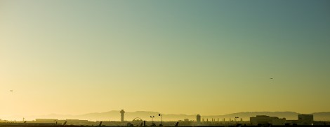 This is Los Angeles International Airport, viewed from the south, driving along the 105 Freeway.