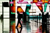 Inside Lindberg's colorful terminal.