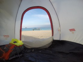 pitch a tent in the beach
