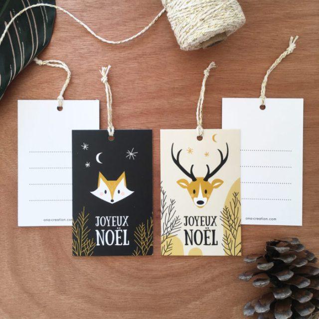 Etiquettes cadeaux de Noël Cerf et renard woodland wild