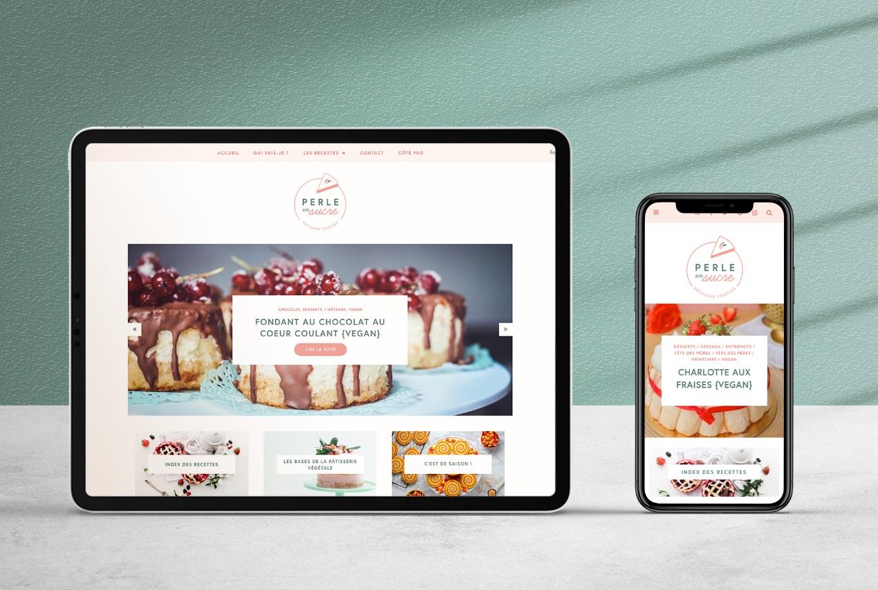 Webdesign et création d'un blog de recettes pâtisserie vegan