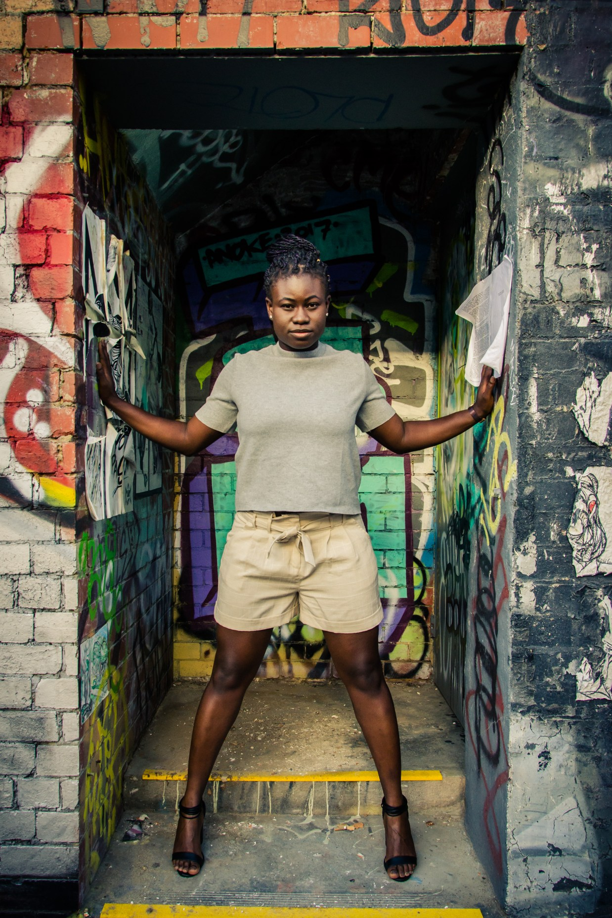 Ghanaian Christine Afro Australian African woman Melbourne Fitzroy portrait photography serious look pose