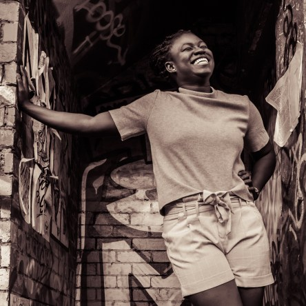 Ghanaian Christine Afro Australian African woman Melbourne Fitzroy portrait photography happy smiling
