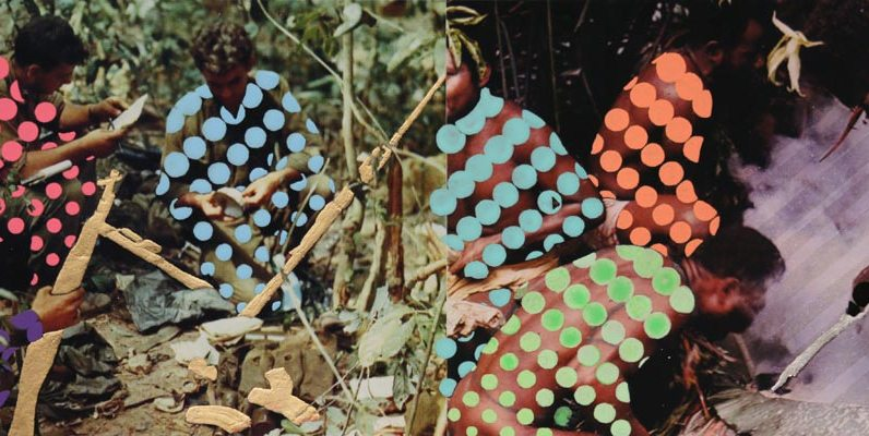Variegated groups of men Painting and metallic leaf on archival inkjet print, framed. 240mm x 639mm x 35mm