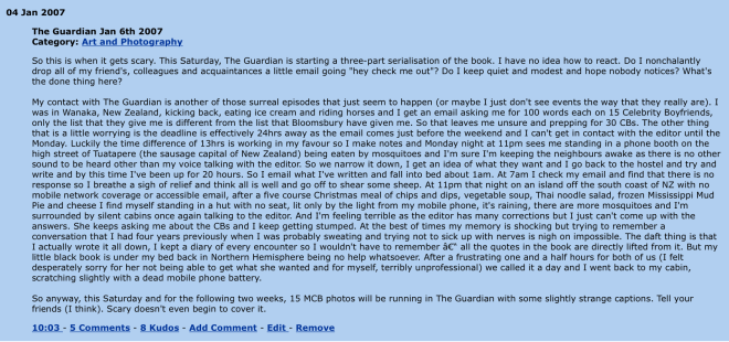 4 Jan 2007 - The Guardian, My Celebrity Boyfriend, The My Space Years