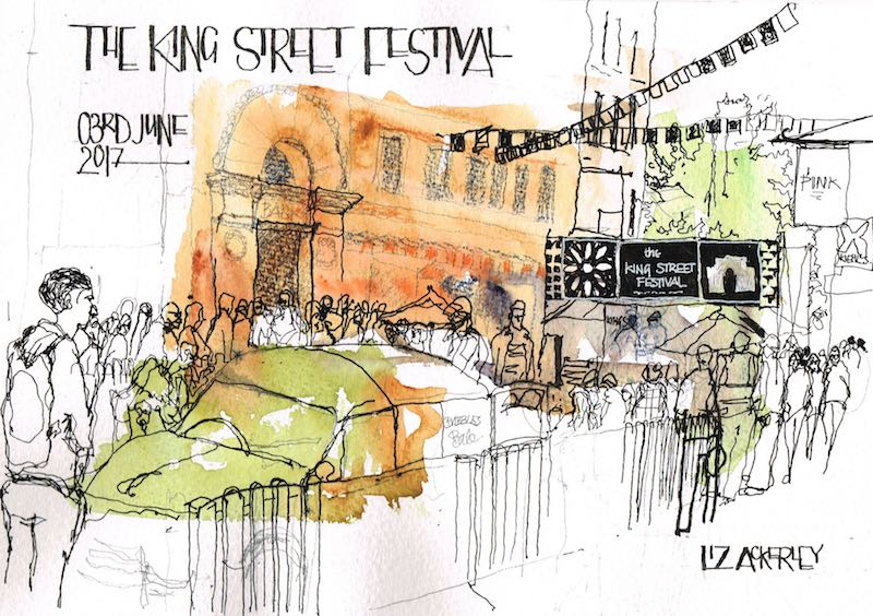 reportage illustration at King Street Festival in manchester