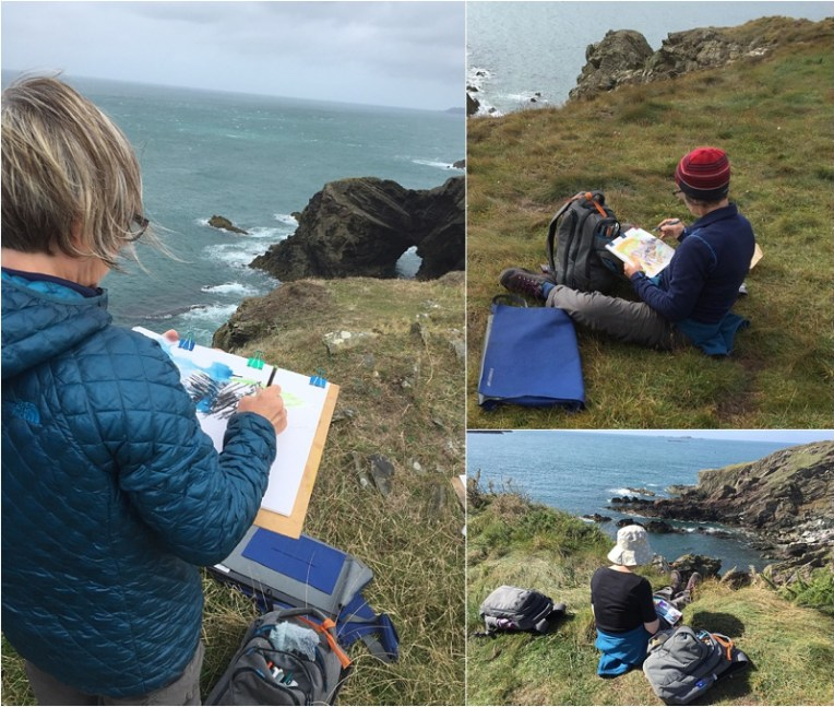 Liz Ackerley sketching on the coastal path Pembrokeshire