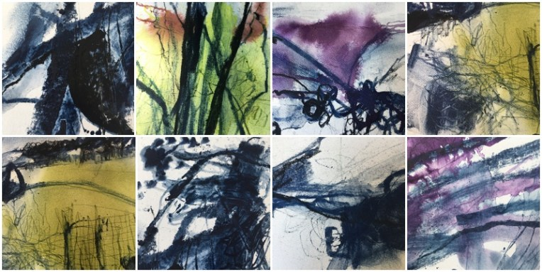 Art on paper  indigo, charcoal and ink works