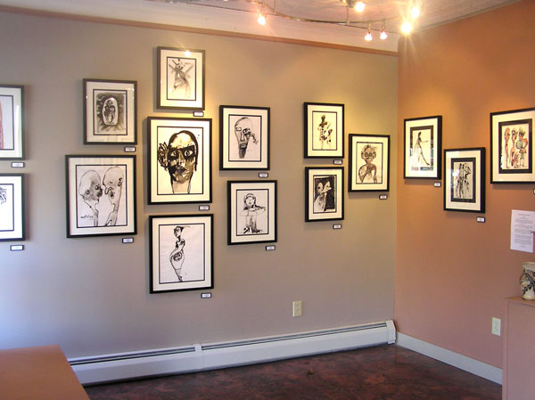 One corner of the Liza Myers gallery showing Fran Bull's fabulous ink drawings.